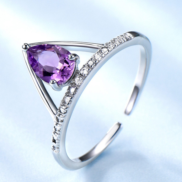 Solid 925 Sterling Silver Two Tone Ring Natural Amethyst Gemstone Unique Jewelry Size 5